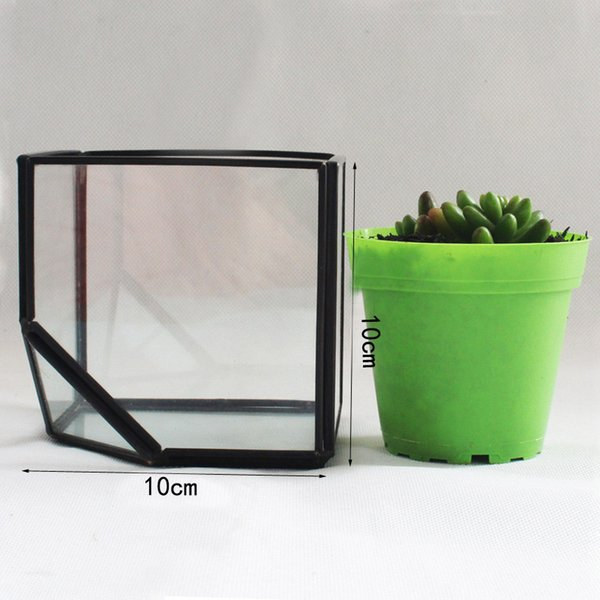 Garden Miniature Glass Terrarium Geometric Diamond Desktop Garden Planter For Indoor Gardening Home Decor Vases SWX9-672