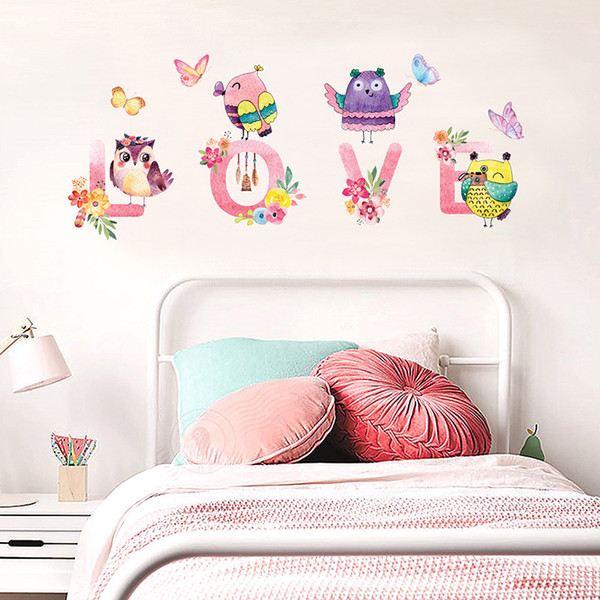 Großhandel Englisch Alphabet Liebe Wand Zitat Aufkleber Cartoon Eulen  Schmetterling Blumen Wandtattoos Kinderzimmer Baby Infant Room Decor Tapete  Von ...