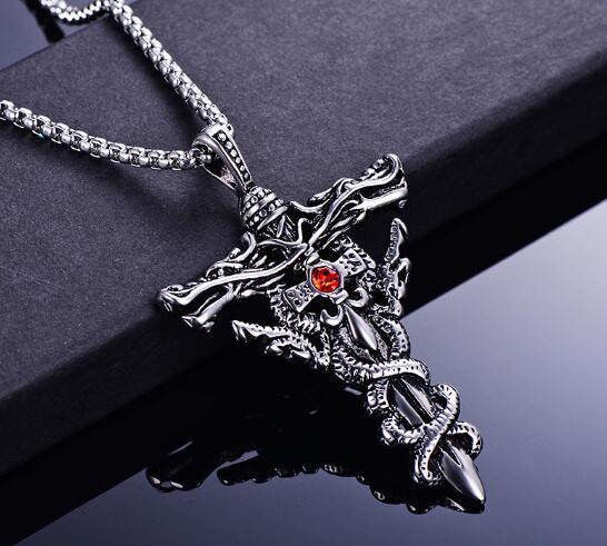hot Domineering men stainless steel double dragon cross necklace stylish set with diamond titanium steel pendant popular hot fashion