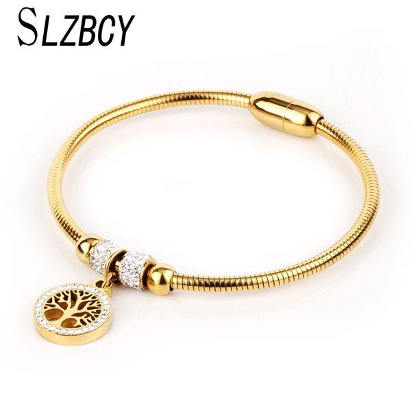 SLZBCY Edelstahl Baum des Lebens Charms Armband Armreif Für Frauen Männer Magnetische Gold Farbe Yoga Armbänder Modeschmuck Geschenk