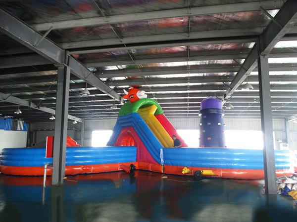 2017 playground house games pump outdoor commercial pool jumping bed large Water slide inflatable bouncer trampoline castle