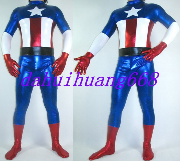New Blue Shiny Lycra Metallic Captain America Suit Catsuit Costumes Unisex Fantasy Captain Body Suit Outfit Halloween Cosplay Costumes DH162