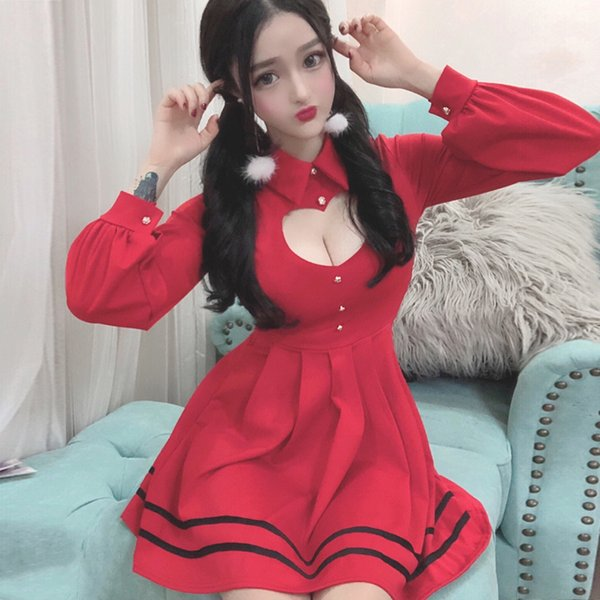 Sexy Pleated Red Dress 2018 Spring Sweet Cute Hollow Heart Slim A-Line Party Dresses Women Kawaii Mini Shirt Dress