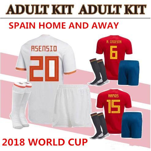 world cup Spain adult Jersey full set with socks 2018 ISCO INIESTA ASENSIO  MORATA home soccer shirt Football uniforms sales Spain kits d15059be6b19