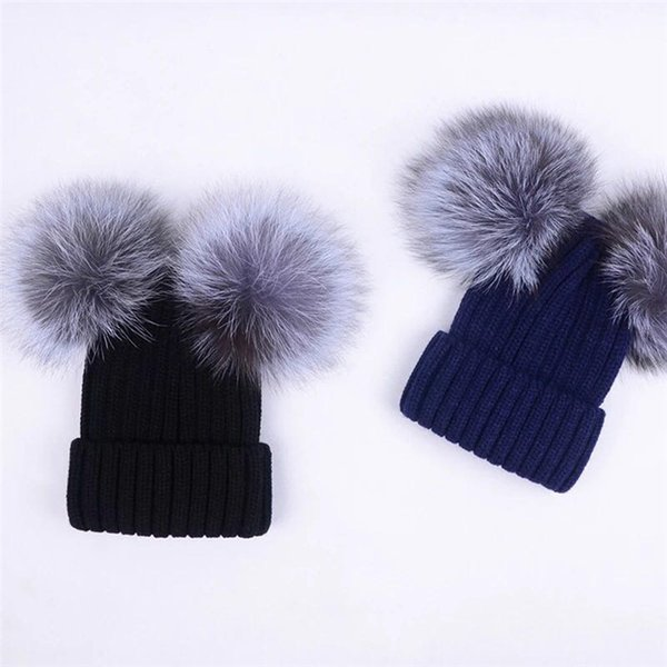 "Kid children child-Soft large 5"" Real Genuine Silver Fox Fur With 2 Pompom Ball Knitted Hat Beanie Cap"