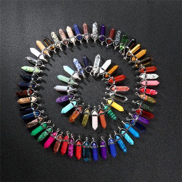 A Variety of Color Popular Crystal Hexagon Pillar Pendant Agate Jade Bullet Necklace Jewelry Manufacturers Direct Sales