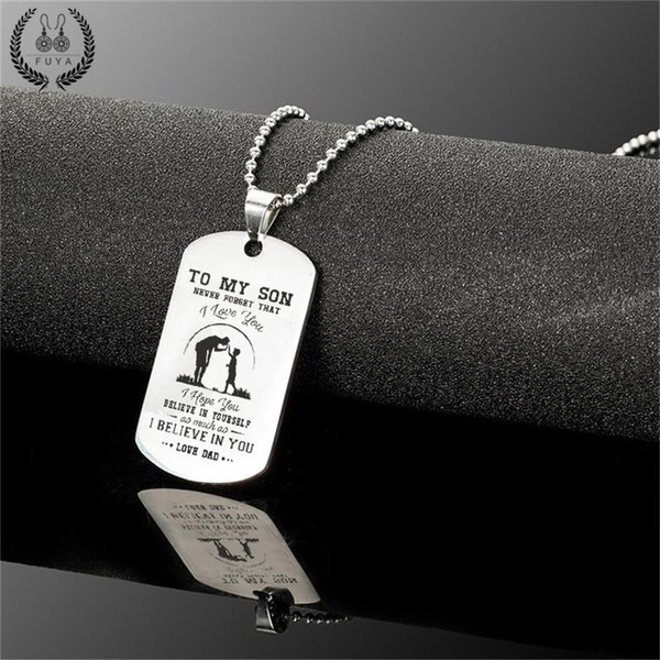 To my son stainless steel pendant necklaces Engrave name love dad mom id tag necklaces&pendants Fashion customized logo jewelry
