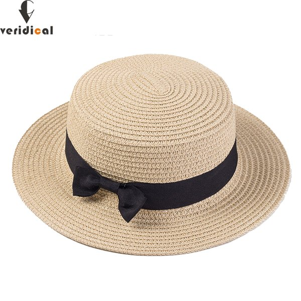 VERIDICAL Lady Boater sun caps Ribbon Round Flat Top Straw beach hat Panama Hat summer hats for women straw snapback gorras