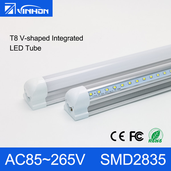 T8 V-shaped LED Tube Light 4FT T8 Integrated LED Tube 18W 24W 36W Fluorescent Tube 2ft 3ft 4ft With Clear Milky Cover