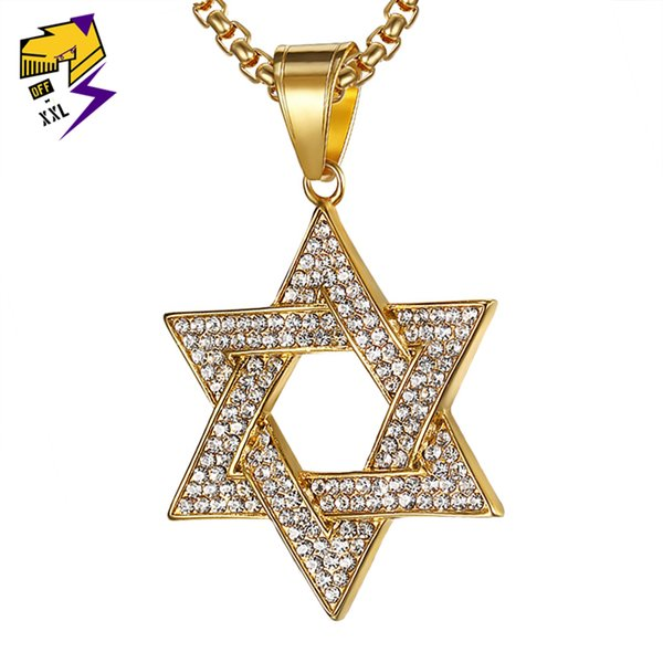 Magen estrela de david colares para homens legal aço inoxidável 316l hiphop cristal hexágono pentagrama colar israel judaico masculino