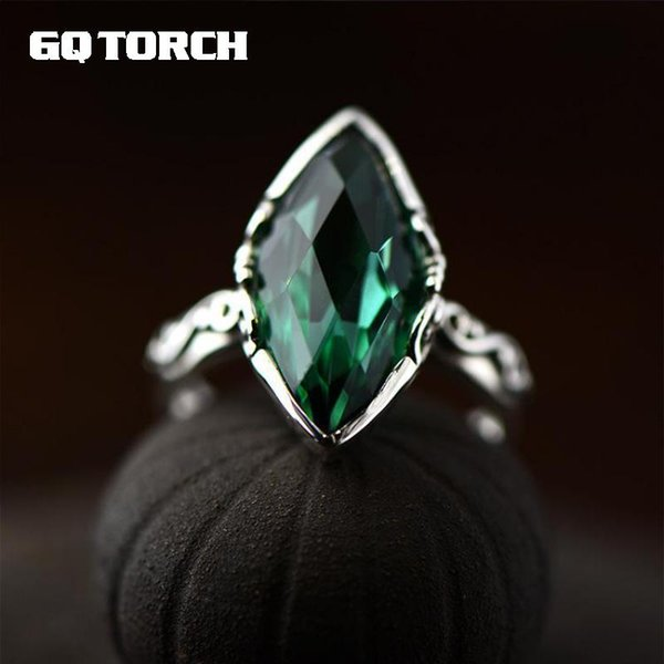 GQTORCH Simple Elegant Emerald Carved Crystal Rings For Women 925 Sterling Silver Natural Gemstone Fine Jewelry Aneis Feminino