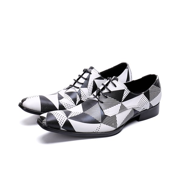 Fashion Luxury Black White Grids Pattern Leather Loafers Shining Formal Dress Shoes Big Size Mens Wedding Party Shoes