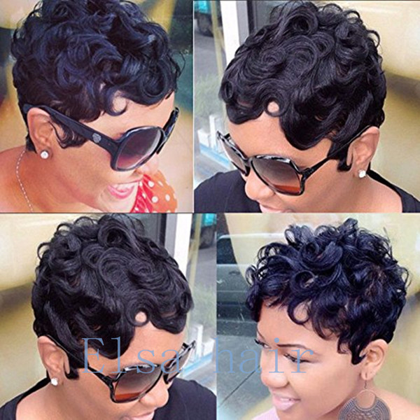 Machine Made wigs for black women pixie short curly hair wigs Brazilian human hair wig with baby hair cheap wigs