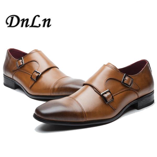 Hommes Cap Toe Chaussures Noir Marron Mâle Robe Chaussures Double Monk Buckle Sangles De Mariage De Bureau Formelle Vintage