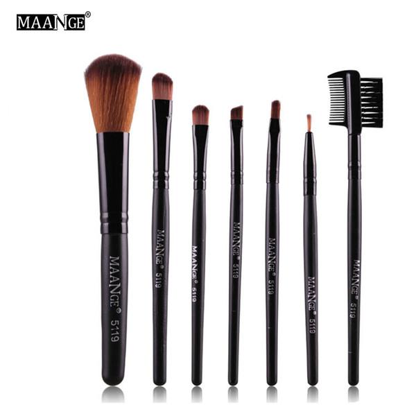 MAANGE 7 PCS Protable Maquillage Brush Set Ombre À Paupières Poudre Maquillage Toilette Sourcil Lèvre Cosmétique Beauté Make Up Brosse Voyage Kit D18111302