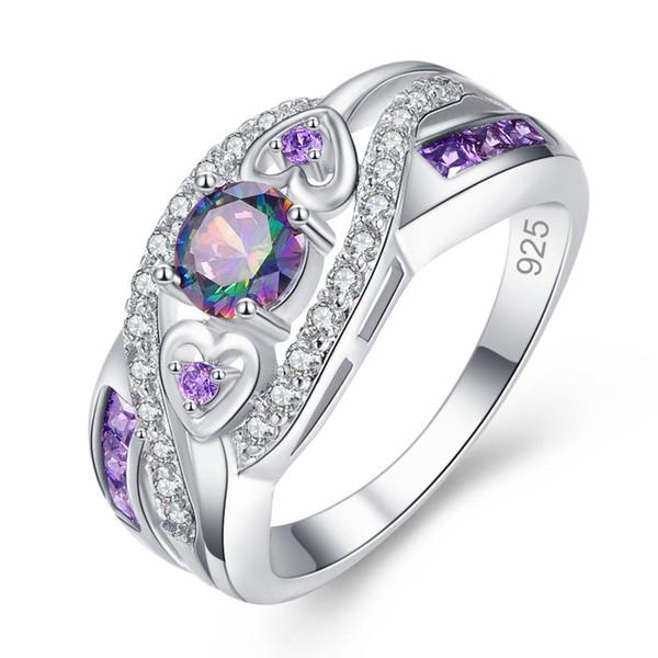 New Arrival Oval Heart Cut Design Multicolor & Purple White CZ Silver Ring Size 6 7 8 9 10Fashion Women Jewelry Gift