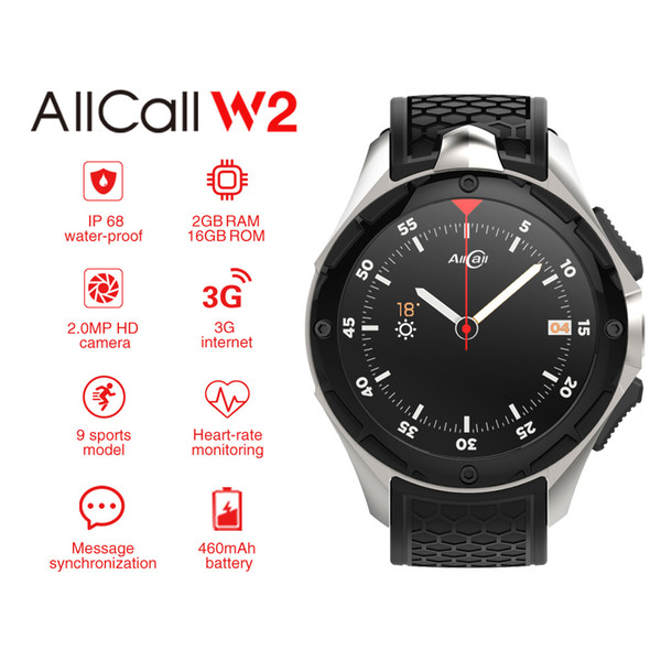 AllCall W2 3G WCDMA Android 7.0 Quad Core Smart Watch 1.39'' HD Screen 2G 16G GPS Wifi Heart Rate Bluetooth Watch.