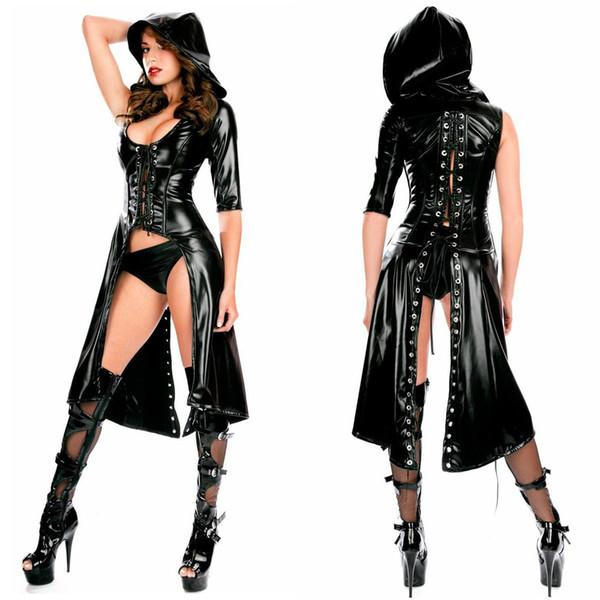 Mono de charol lacado Catwrench Trench Coat Gothic Cloak Lace-up lencería sexy negro Cosplay Queen Costume
