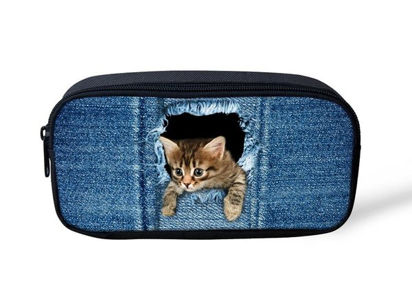 Wholesale- High Quality Cosmetic Bags Cute 3D Animal Denim Cat Cat Printing Women Makeup Bag Small Children Boys Girls Pencil Pen Bag Case