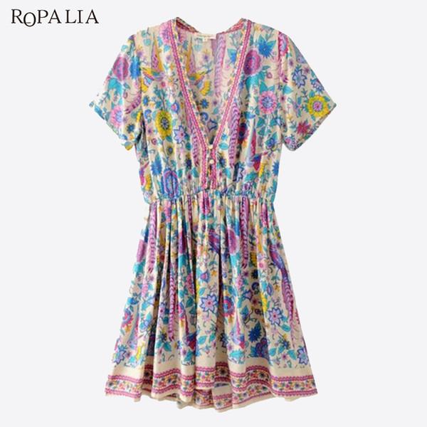 ROPALIA Boho Vintage Birds Floral Print Mini Dress Women 2018 New V-Neck Short Sleeve Summer Beach Dresses Casual Vestidos Mujer