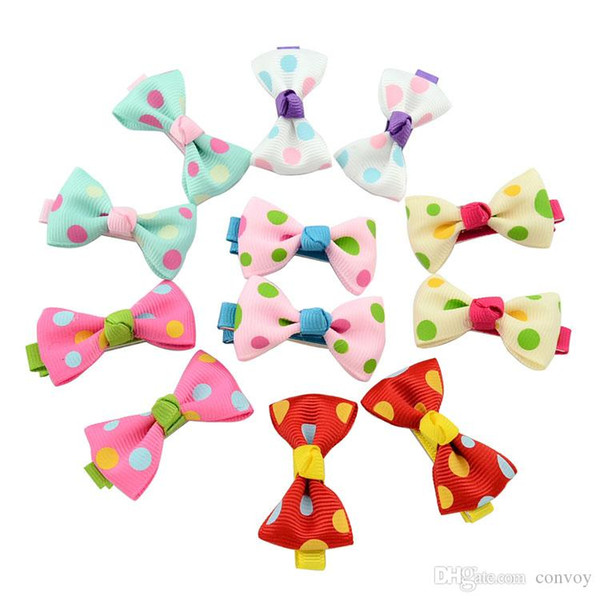 Baby Girls Bow Clips Candy Color Solid/ Polka Dot Flower Print Ribbon Bow Hairpin BB Hair Clips for Baby Girls Kids Hair Accessories KFJ88