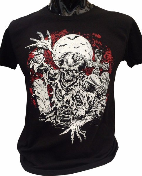 Zumbi Rising T-Shirt Dos Homens S-2XL Graveyard Morcegos Zumbis Lua Goth Rock Horror