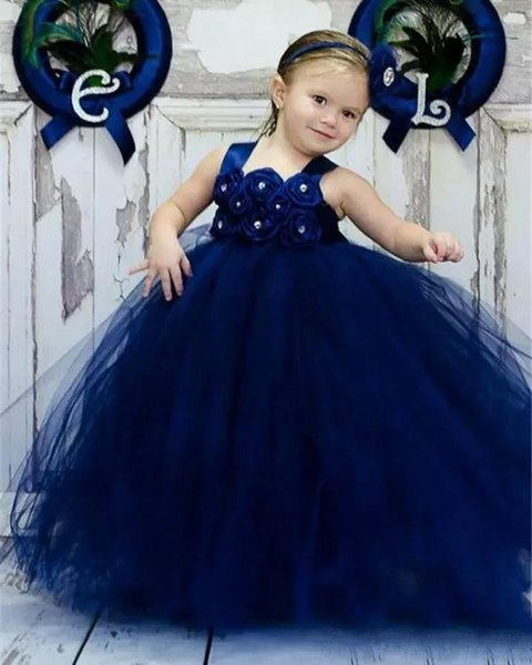 Cute 2018 Toddler Pageant Dresses Strappy Shiny Shiny Beads Floral Bodice Ball Gown Skirt Royal Blue Tulle Kids Ball Gown Prom Dresses