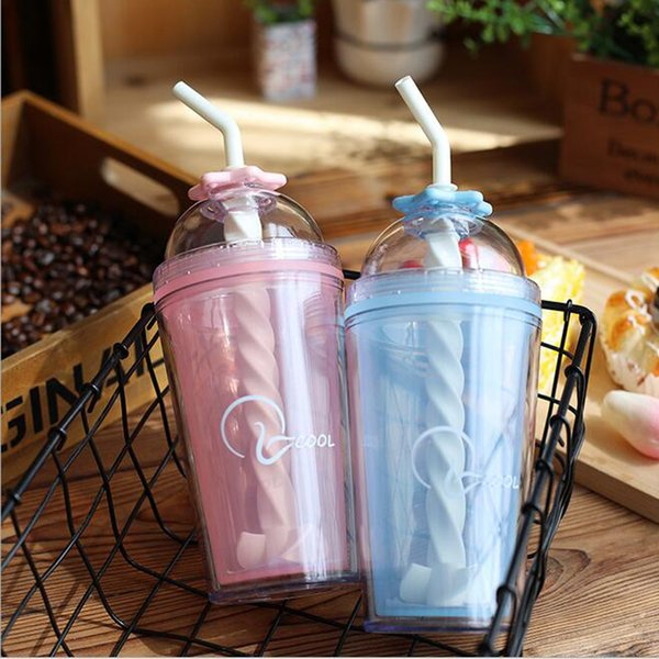 Wholesale Portable Juice Water Bottle Summer Colorful Cool Ice Double Plastic Straw Couple Cup Glass Bottles Drinkware DHL Free Shipping