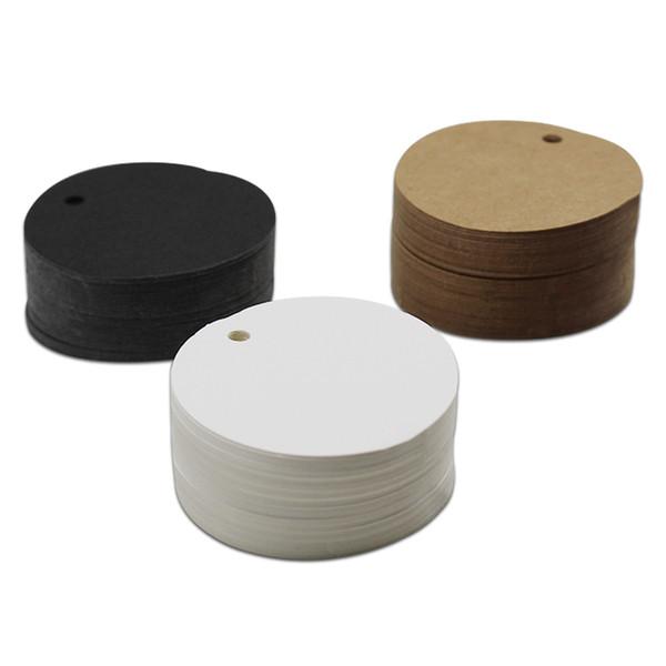 2500Pcs/Lot Diameter 5cm Wholesale Round Shape Design Kraft Blank Hang Tag Wedding Party Favor Gift Price Cards Packaging Label