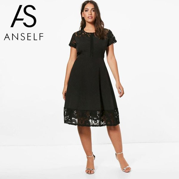 Women Plus Size 3XL 4XL 5XL Skater Dress Lace Insert Short Sleeves High Waist A-Line Dress EleLady Oversized clubwear