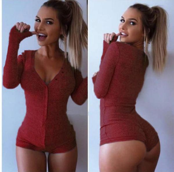 Femmes Combinaisons Fil Tricoté Profond Col En V À Manches Longues Mini Shorts Skinny Sexy Combinaisons Bouton Couleur Pure Combinaison Serrée Femmes Vêtements