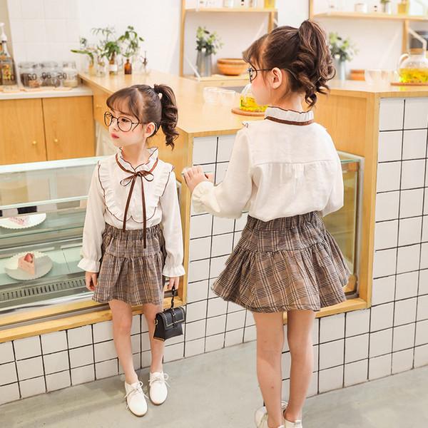 Girls Dress Summer Kids Preppy Style Silm A-line Skirt For Princess Wear T-Shirt Plaid Skirt For Baby Girl