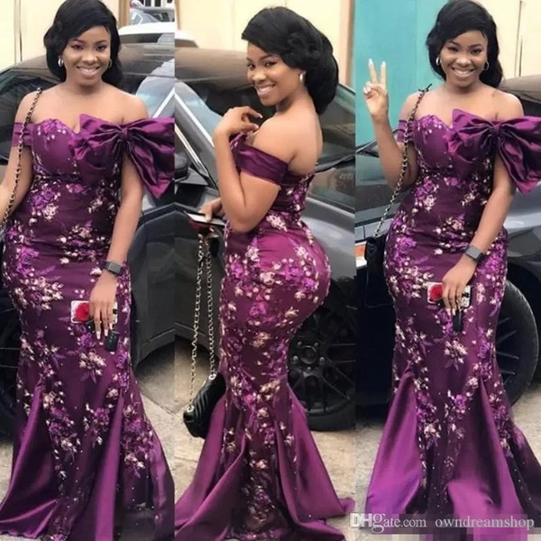 Plus Size Purple Prom Dresses Sexy Off The Shoulder Colorful Appliques Evening Gowns Aso Ebi Style Formal Party Dress Custom Made Bow