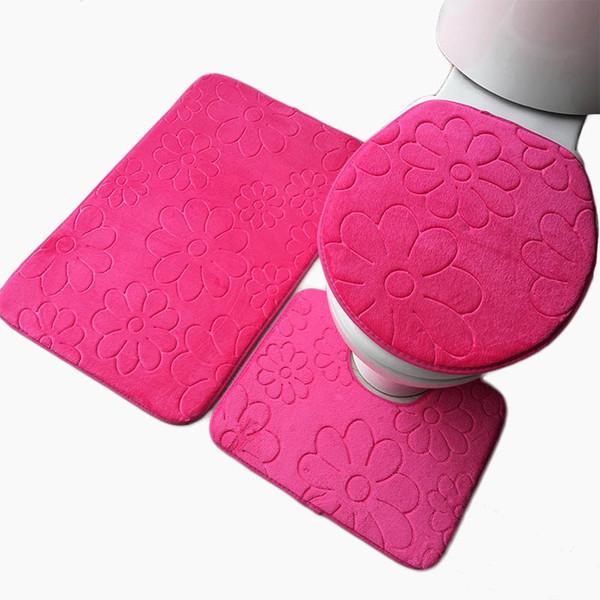 3pcs tapis de toilette anti-dérapant Set molleton corail absorbant tapis de salle de bains piédestal pan tapis couvercle de la couverture de couvercle couvercle de l'outil de protection