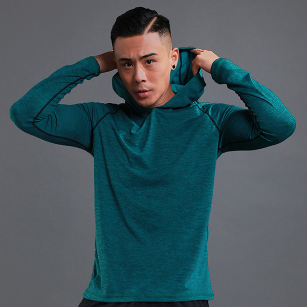 Running T shirt Men Long Sleeve Hooded Sweatshirts Thin Gym Shirts Fitness Training Jersey Quick Dry Breathable Sports Clothing