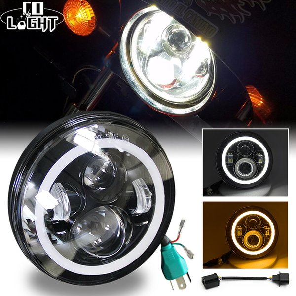 7Inch LED Headlight 50W 30W High Low Beam Angel Eye DRL Auto Turn Signal Lightfor Jeep Wrangler Hummer Lada Niva Harley