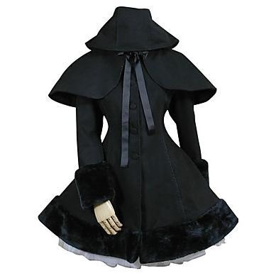 Nero Solid Long Gothic Classic / Traditional Lolita Dress Principessa Vintage Ispirato Elegante Victorian Rococo Cosplay
