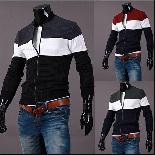 top popular new mens designer hoodies three-color stitching men's jacket jacket men's collar slim Slim jacket mens designer winter coats Y300 2019