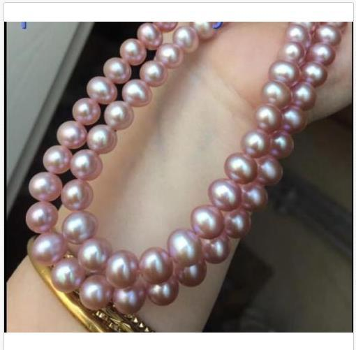 gorgeous 9-10 mm PURPLE south sea pearl necklace 35 inch 14K CLASP