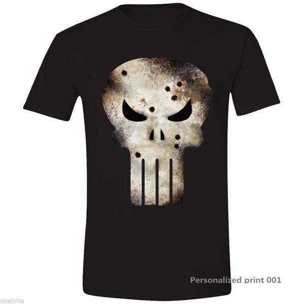 T-shirt La bataille de Punisher a endommagé le crâne Marvel Maglia Teschio Uomo Ufficiale