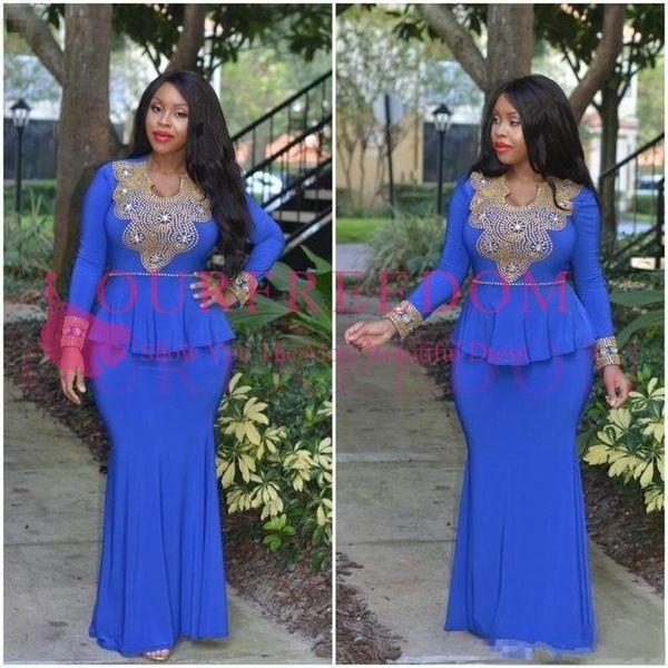 2019 Nuova Arabia Saudita Sirena Donna Prom Abiti da festa Kaftan Dubai Africana Blu Royal Abiti da sera Maniche lunghe Nigeriano Vestido
