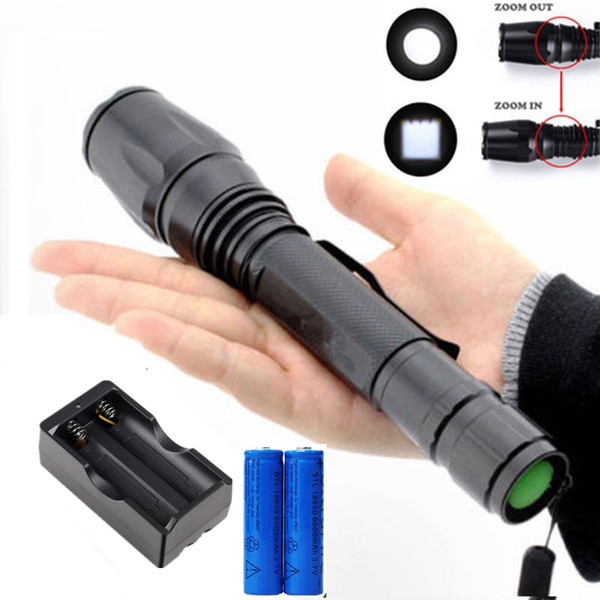 3800LM Camping Flashlight Zoomable Cree XM-L Tactical T6 LED Torch Rechargeable 5 Modes + 2x 18650 Battery + Charger