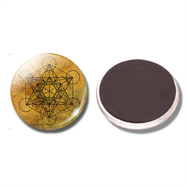 Metatron's Cube 30 MM Fridge Magnet Sacred Geometry Geometric Glass Dome Magnetic Refrigerator Stickers Note Holder Home Decor