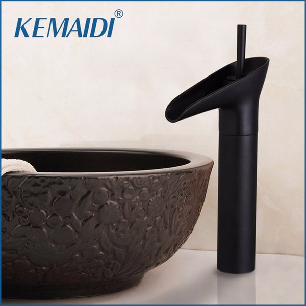 KEMAIDI Oil Rubbed Bronze Bathroom Sink Faucet Waterfall Lavatory One Hole Tap Deck Mounted Singel Handle Sink Faucets,Mixer