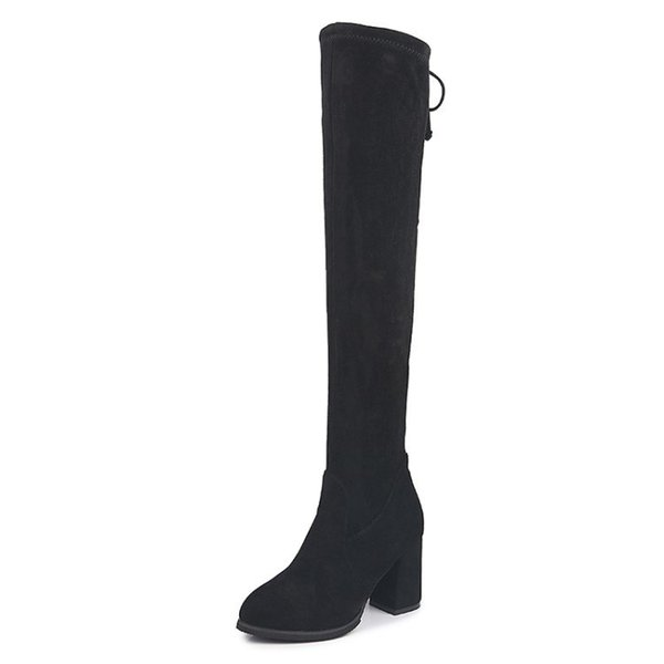 Thigh High Boots Fashion Over The Knee Boot Stretch Flock Sexy Overknee High Heels Woman Shoes Solid Black Lace Up Fleeces Boots