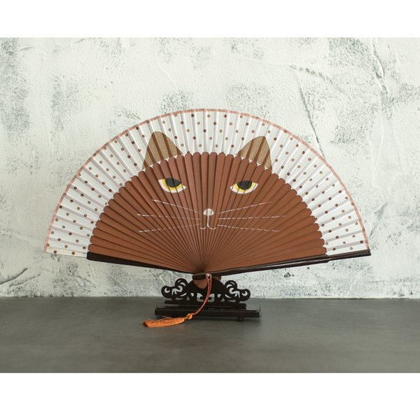 Cartoon Hand Painted Cat Fan Japanese Bamboo Silk Folding Hand Held Fan Traditional Craft Chinese Decorative Fans Gift