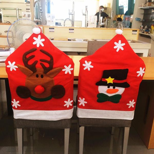3Pcs European High -Quality Half Stereo Christmas Snowman Party Decoration Santa Elk Chair Covers New Hot