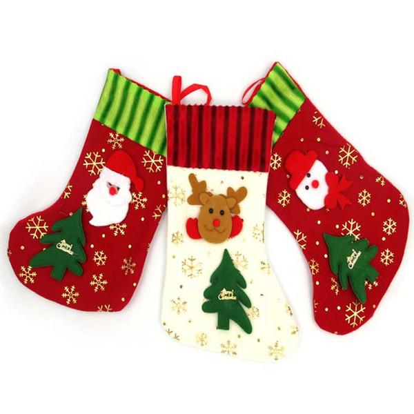 Hoomall Santa Claus Snowflake Socks Christmas Stockings Gift Bag Holder Snowman Xmas Tree Ornaments Navidad New Year Decorations