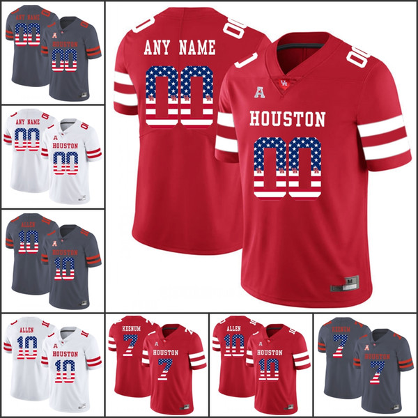 National flag Custom Houston Cougars College Football 7 Case Keenum 10 Ed Oliver Any Number Name 2018 NCAA UH Jerseys Stitched