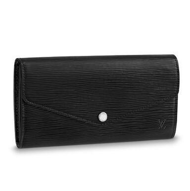 M60582 SARAH WALLET Water ripple black Real Caviar Lambskin Chain Flap Bag LONG CHAIN WALLETS KEY CARD HOLDERS PURSE CLUTCHES EVENING